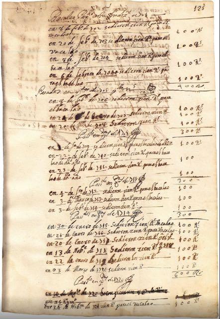 Gastos realizados en bacalao en el Convento de Monjas de Santa Clara, de Andújar, entre 1701 y 1732.